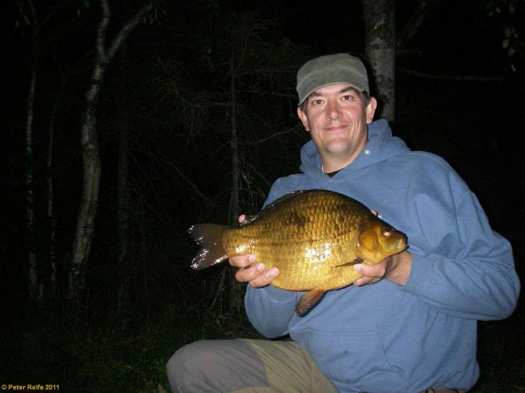 Two shots of a cracking Swedish crucian of 4lbs 9oz