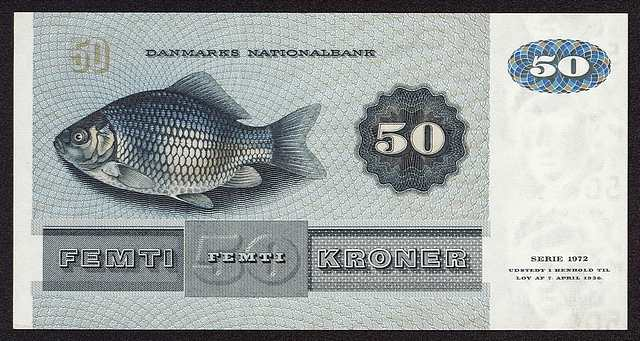 The crucian on a Danish 50 krones banknote
